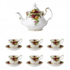 Set 6 cesti cu farfurii ceai + Ceainic Old Country Roses