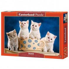 Jucarie Puzzle cu pisicute cautand lapte 500 pcs Castorland