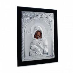 Maica Domnului din Vladimir, 25X31cm, Argintie cu Rama Neagra, Dreptunghiulara, Cod Produs:902