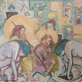 TABLOU, FLORIN LUNGU, CAINTA,, U.P.C., DIM: 58X70 CM - Pictor roman