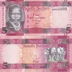 Sudanul de Sud 5 Pounds 2015 UNC - bancnota africa