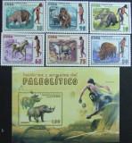 CUBA -  OAMENI SI ANIMALE DIN PALEOLITIC, 2008, 6 V + 1 S/SH, NEOB . - CU 14