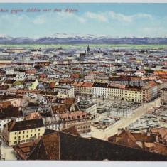 Carte postala veche Germania- Postkarte - München gegen Süden mit den Alpen, Circulata, Fotografie
