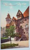 Carte postala veche Germania- Postkarte - Nürnberg, Eingang zur Burg mit Vestne, Circulata, Fotografie