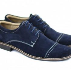 Pantofi barbati piele naturala velur bleumarin casual-eleganti cu siret cod P88, Marime: 37, 38, 39, 40, 41, 42, 43, 44, 45, Culoare: Maro, Negru, Rosu