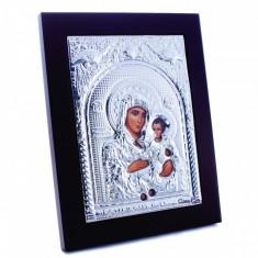 Maica Domnului de la Ierusalim, 25X31cm, Argintie cu Rama Maro, Dreptunghiulara, Cod Produs:937