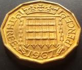 Moned 3 (Three) Pence - ANGLIA, anul 1967 *cod 3279  --- a.UNC
