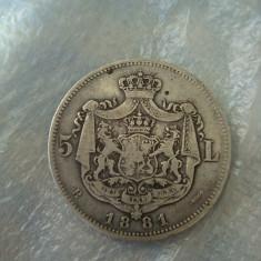 5 lei 1881 Stea pe o rază după Patria -RARITATE !!! - Moneda Romania