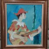 Tablou, Ag.COSTINESCU-Arlechin, 80x70cm, u/p - Pictor roman, Portrete, Ulei, Impresionism