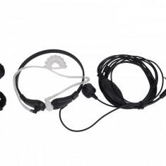Casti cu tub acustic si laringofon pentru statii portabile