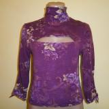 Bluza casual dama pe gat, mov-floral, mar S, stare buna! - Bluza dama, Marime: S, Culoare: Din imagine