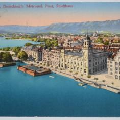 Carte postala veche Elvetia- Postkarte - München gegen Süden mit den Alpen, Circulata, Fotografie