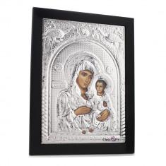 Maica Domnului de la Ierusalim, 18X24cm, Argintie cu Rama Neagra, Dreptunghiulara, Cod Produs:886