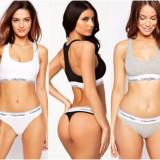 Set Calvin Klein 3 piese ( bustiera, tanga, boxeri ), Marime: S, M, L, XL, Culoare: Alb, Gri, Negru