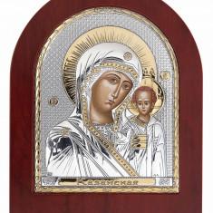 Maica Domnului Kazanskaya, Foita Argint 925 si Aur, 100x85mm, Cod Produs:1391