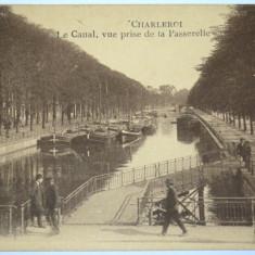 Carte postala veche Franta - Postkarte - Charleroi - Le Canal, la Passerelle, Circulata, Fotografie