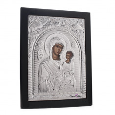 Maica Domnului Vindecatoarea (Giatrissa), 30X40cm, Argintie cu Rama Neagra, Dreptunghiulara, Cod Produs:904