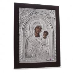 Maica Domnului Vindecatoarea (Giatrissa), 30X40cm, Argintie cu Rama Maro, Dreptunghiulara, Cod Produs:942