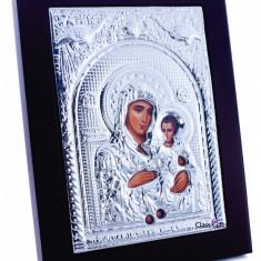 Maica Domnului de la Ierusalim, 18X24cm, Argintie cu Rama Maro, Dreptunghiulara, Cod Produs:930