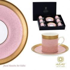 Set cafea 6 cesti cu farfurii in cutie cadou Jewel Kunzite