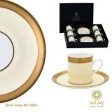 Set cafea 6 cesti cu farfurii in cutie cadou Jewel Ivory - Ceasca