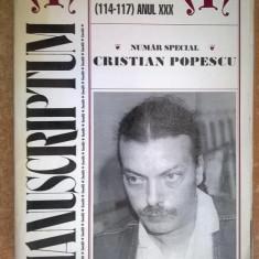 Manuscriptum 1-4/1999 numar special Cristian Popescu - Arta Popescu - Carte poezie