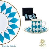 Set cafea 6 cesti cu farfurii in cutie cadou Jester Blue - Ceasca