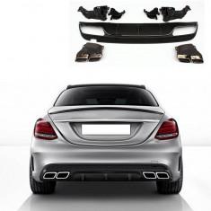 Difuzor Bara Spate + Ornamente Toba Mercedes W205 C-Class AMG AL-220817-28 - Bara Spate Tuning, Mercedes-benz