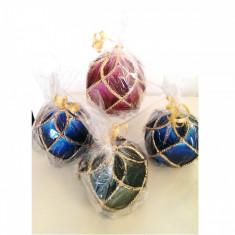 Lumanare Craciun Glob cu impletitura diferite culori - Lumanari de Craciun