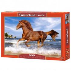 Jucarie Puzzle cu un cal pe plaja 500 pcs Castorland