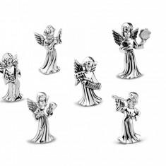 Set 6 marturii botez ingerasi argintati