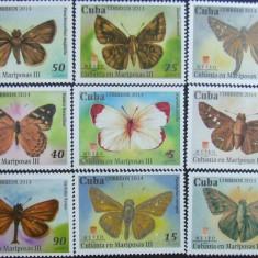 CUBA -  FLUTURI DIN CARAIBE III, 2014, 9 V, NEOB . - CU 21