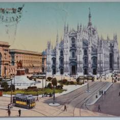 Carte postala veche Italia - Postkarte - Tramvai, Milano, Piazza del Duomo, Circulata, Fotografie