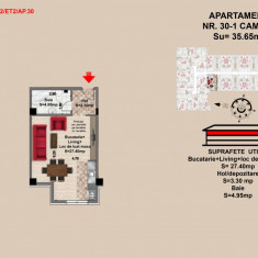 Garsoniera, Brasov, Mall Coresi, 2017, 35.65 mp - Garsoniera de vanzare, 36 mp, Etajul 2