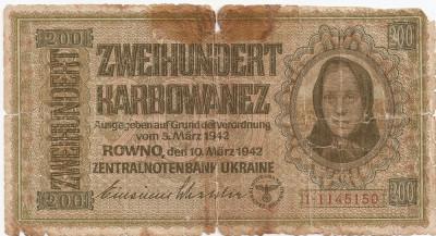 Ucraina 200 karbowanez 1942 U foto