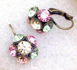 Cercei swarovski verzi cu roz / gold vintage -cristale zirconia