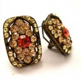Cercei-placati cu rodium si cristale zirconia-SWAROVSKI- elegant vintage