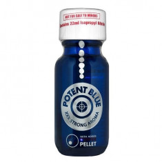 Poppers POTENT BLUE - cu Power Pellet metalic -  sticla mare - original