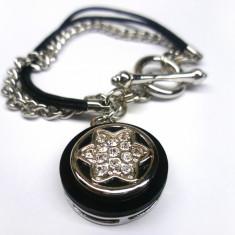 PROMOTIE-Bratara inox-placata cu aur alb 18k si CHARM SWAROVSKI- tip Pandora