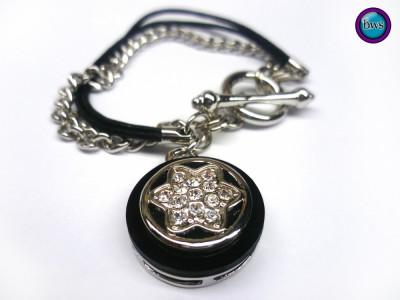 PROMOTIE-Bratara inox-placata cu aur alb 18k si CHARM SWAROVSKI- tip Pandora foto