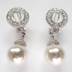 Cercei CLIPS -PLACATI CU AUR ALB 18K-SWAROVSKI si PERLA de cultura-perle