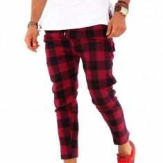 Pantaloni barbati de trening - rosu cu negru - COLECTIE NOUA - 9223, Marime: S, M, L, XL, Culoare: Din imagine