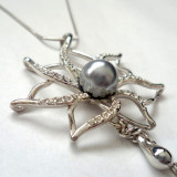 SET BIJUTERII(lantisor+cercei)-placat cu aur 18k,perla si cristale