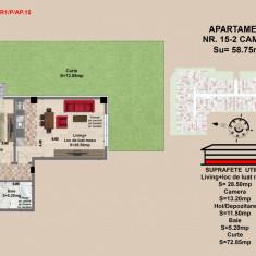 2 camere, str Nicolae Labis nr 52- pret 53932 Euro, 58.75 mp - Apartament de vanzare, 59 mp, Numar camere: 2, An constructie: 2017, Parter