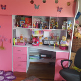 Mobila dormitor fetite IKEA cu pat supraetajat - Pat supraetajat pentru copii Ikea, Alte dimensiuni, Roz