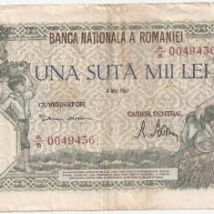 ROMANIA 100000 LEI 8 MAI 1947 VF