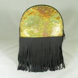 Rucsac/ghiozdan dama negru cu auriu cu paiete si franjuri+CADOU - Rucsac dama