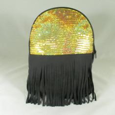 Rucsac/ghiozdan dama negru cu auriu cu paiete si franjuri+CADOU - Rucsac dama, Piele ecologica