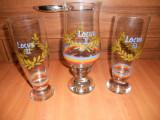 Set 3 Pahare sticla,pictate,vechi Romanesti perioada comunista. (Pionier)