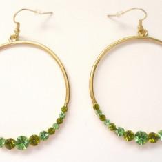 Cercei lungi verzi - MARI rotunzi- AUR galben filat 18k si cristale swarovski